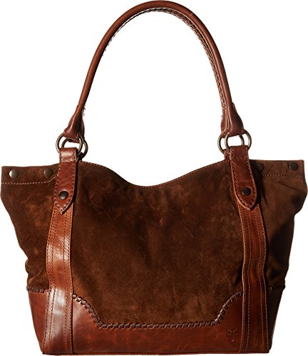 Frye Melissa Whipstitch Shoulder, Chestnut Suede and Leather