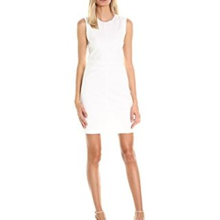 A|X Armani Exchange Women's Crew Neck Color Block Mini Dress, White, 0