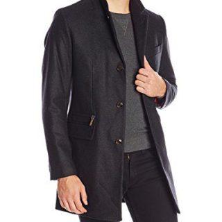 Ted Baker Men's Mini Design Wool Coat, Charcoal, 7