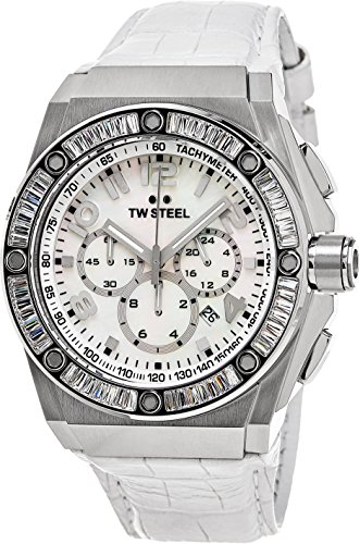 TW Steel CEO Tech Swarovski Crystal Stainless Steel Watch - Mother-of-Pearl Dial Date 24-hour TW Steel Watch Womens - White Leather Band 44mm Chronograph Watch