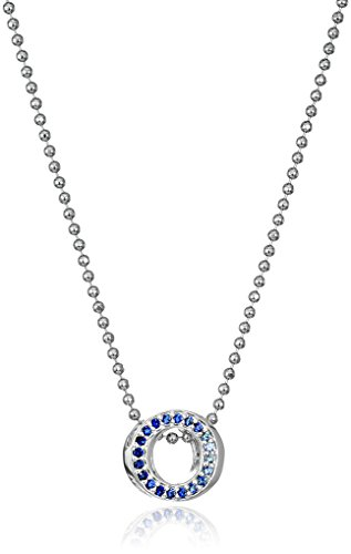 Alex Woo Little Elements Sterling Silver Circle with Swarovski Genuine Blue Sapphires Pendant Necklaces