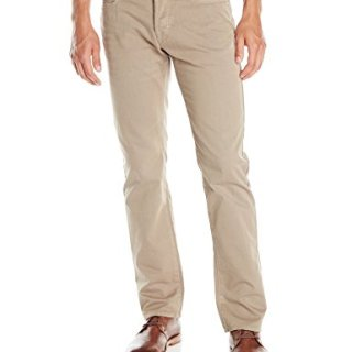 BOSS Orange Men's Regular Fit Coated Canvas Jean, Khaki, 36x32