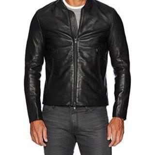 J.Lindeberg Men's Grain Leather Jacket, Black, Large