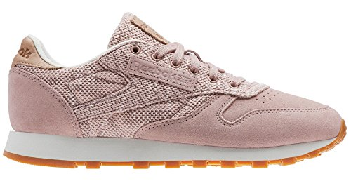 Reebok Women's CL Leather Ebk Sneaker, Shell Pink/Chalk/Lilac As, 5.5 M US