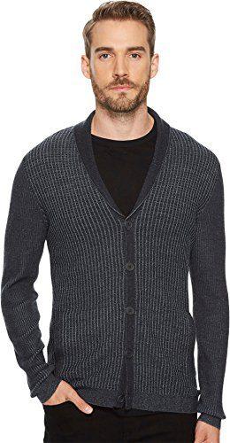 John Varvatos Men's Shawl Collar Cardigan, Charcoal Heather, Extra Large