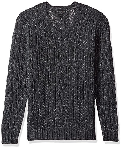 John Varvatos Men's Long Sleeve V-Neck, Charcoal Heather, Large