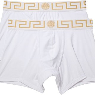 Versace Men's Long Trunk 2-Pack White/White/Gold Greca 6
