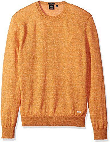 BOSS Orange Men's Melange Linen Crew Neck Sweater, Ameberglow, Small