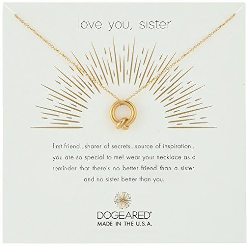"""Dogeared Love You, Sister, Together Knot Charm Gold Chain Necklace, 16""""+2.75"""" Extender"""