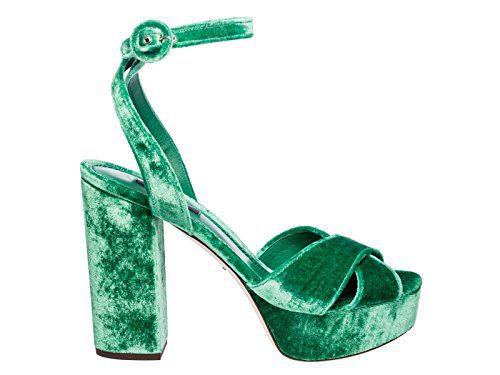Dolce e Gabbana Women's Green Velvet Sandals