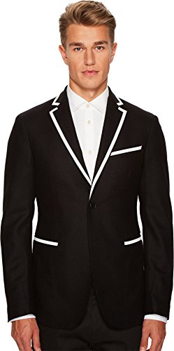 Versace Collection Men's Woven Sport Jacket with Piping Black Outerwear