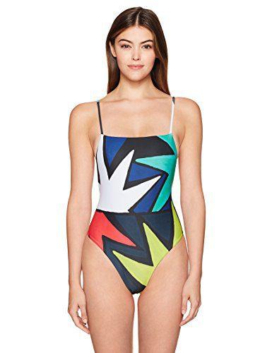 Mara Hoffman Women's High Cut One Piece Swimsuit, Superstar Marine, Large