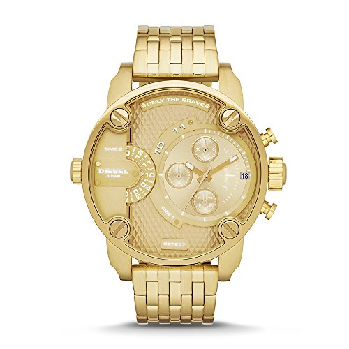 Diesel Men's Little Daddy Quartz Stainless Steel Chronograph Watch, Color Gold-Tone