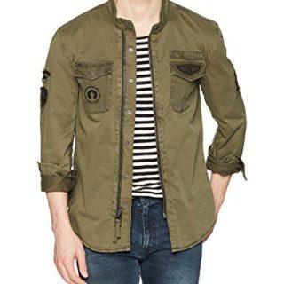 John Varvatos Star USA Men's Shirt Jacket, Olive, Extra Large