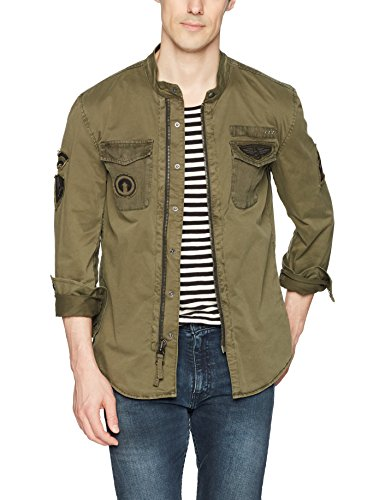 John Varvatos Star USA Men's Shirt Jacket, Olive, Extra Large