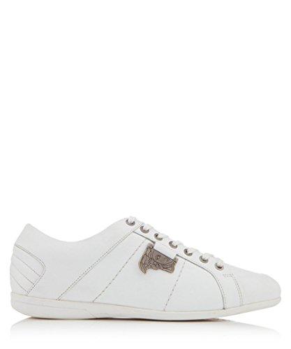 4763dec1a4b8f Versace Collection Men's White Leather Plague Sneakers (44 EU/11 US)