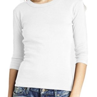 Michael Stars 3/4 Sleeve Band Crew (White)