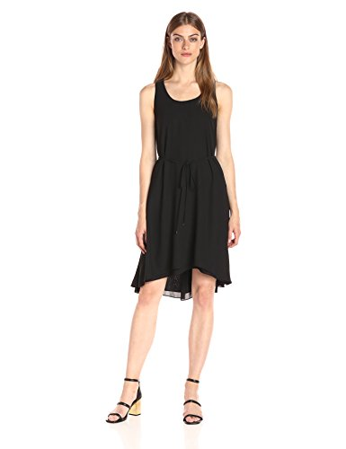A|X Armani Exchange Women's Scoop Neck Waist Tie High Low Woven Dress, Black, 8