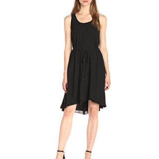 A|X Armani Exchange Women's Scoop Neck Waist Tie High Low Woven Dress, Black, 8
