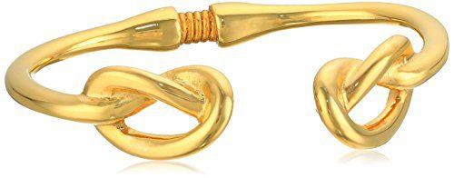 Kenneth Jay Lane Polished Gold Knot Ends Bracelet