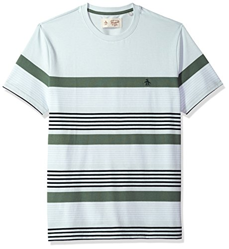 Original Penguin Men's Short Sleeve Safari Stripe Tee, Ballad Blue, Small