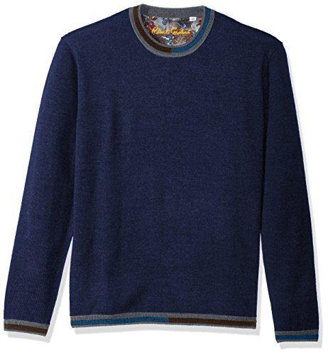 Robert Graham Men's Cooperstown Long Sleeve Sweater Crewneck, Navy, XLarge
