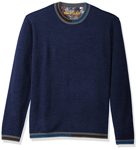 Robert Graham Men's Cooperstown Long Sleeve Sweater Crewneck, Navy, XLarge