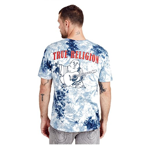 True Religion Men's Buddha Logo Short Sleeve Tee, Ocean Waves, XXL