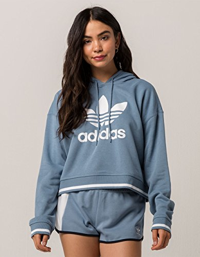 adidas Originals Women's Active Icons Cropped Hoodie, Raw Grey, XS