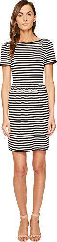 Kate Spade New York Women's Stripe Ponte Dress Off-White/Black Large