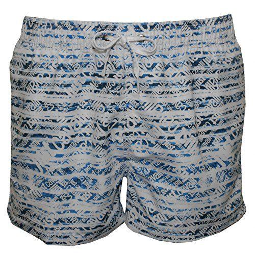 Just Cavalli Allover Logo Print Men's Swim Shorts, White/Denim X-Large White/Denim
