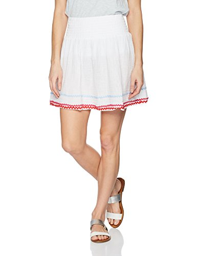 Michael Stars Women's RIC Rac Double Gauze Smocked Waist Skirt, White, S