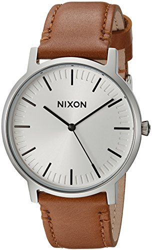 Nixon Porter. Leather/White Sunray Men's Watch (20-18mm Leather Band and 40mm White Watch Face)