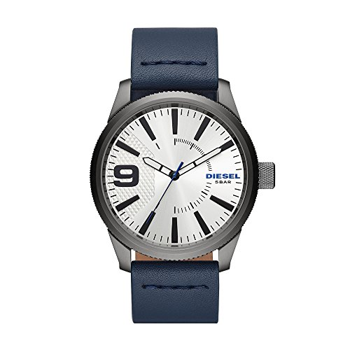 Diesel Men's 'Rasp NSBB' Quartz Stainless Steel and Leather Casual Watch, Color Blue (Model: DZ1859)