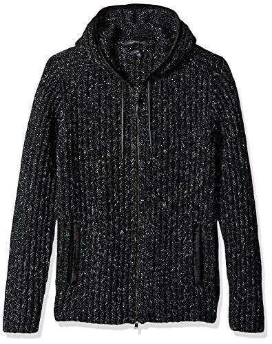 John Varvatos Men's Zip-Front Hoody, Black, Medium