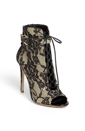 Brian Atwood Peep-Toe Lace Bootie