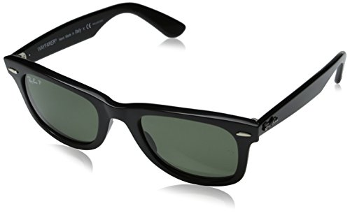 Ray-Ban Wayfarer - Black Frame Crystal Green Polarized Lenses, 50mm
