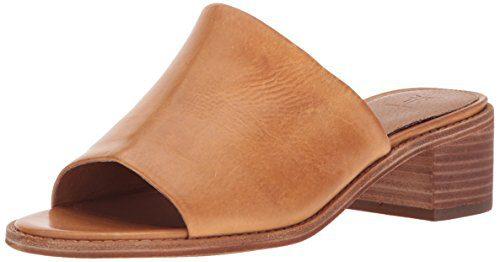 FRYE Women's Cindy Mule Heeled Sandal, Natural, 8.5 M US