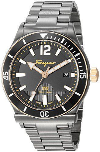 Salvatore Ferragamo Men's ' Sport' Swiss Quartz Stainless Steel Casual Watch, Color:Grey