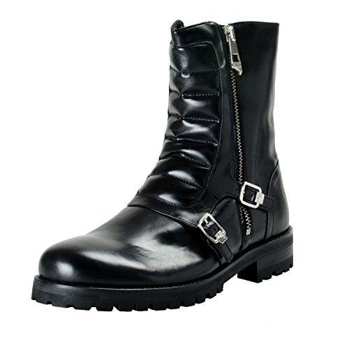 Versace Collection Men's Black Leather Motorcycle Shoes US 12 IT 45
