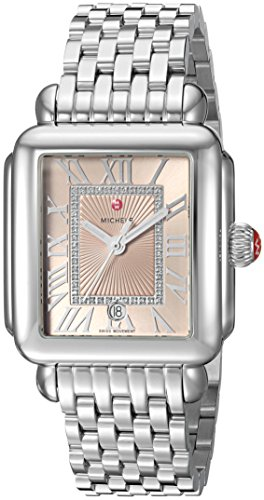 Michele Women's 'Deco Madison' Swiss Quartz Stainless Steel Casual Watch, Color: Silver-Toned