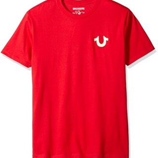 True Religion Men's Double Puff Short Sleeve T-Shirt, Ruby Red, Medium