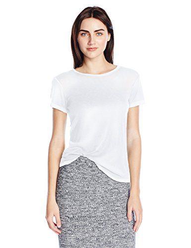 Michael Stars Women's Slub Short Sleeve Crew Neck, White, One Size