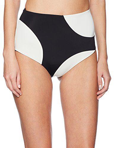 Mara Hoffman Women's Lydia High Waisted Bikini Bottom Swimsuit, Shale Colorblock Black/Cream, Medium