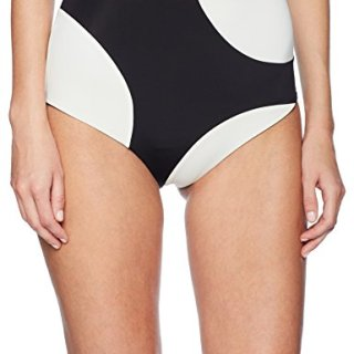 Mara Hoffman Women's Lydia High Waisted Bikini Bottom Swimsuit, Shale Colorblock Black/Cream, Medium