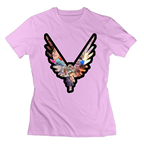 Katie P. Hunt Women's Logan Paul T Shirt Cotton Short Sleeve L Pink