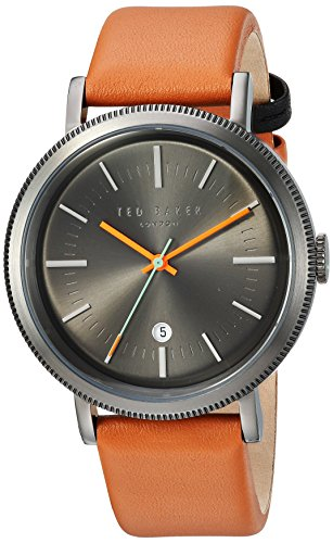 Ted Baker Men's 'CONNOR' Quartz Stainless Steel and Leather Dress Watch, Color:Brown