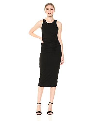 Enza Costa Women's Sheath Tank Side Ruch Midi Dress, Black, M