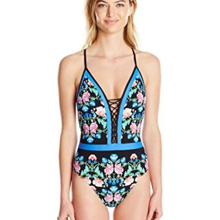 Nanette Lepore Women's Damask Floral Print Goddess One Piece Mio Swimsuit, Multi, M