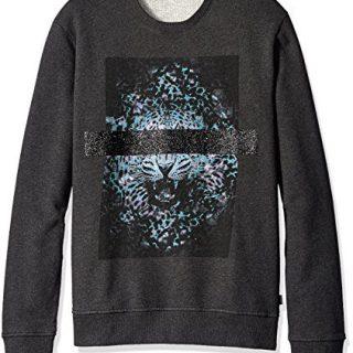 Just Cavalli Men's Blinded Leopard Sweatshirt, Gargoyle Melange, Small